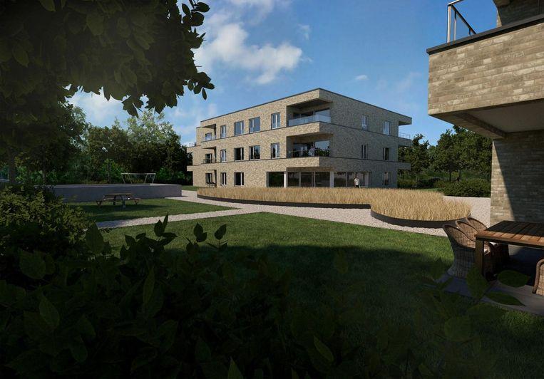 Een beeld van een van de twee woonblokken met drie bouwlagen in Park Oase.