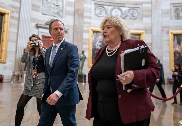 Adam Schiff (links) en Zoe Lofgren (rechts): twee Democratische impeachmentmanagers.