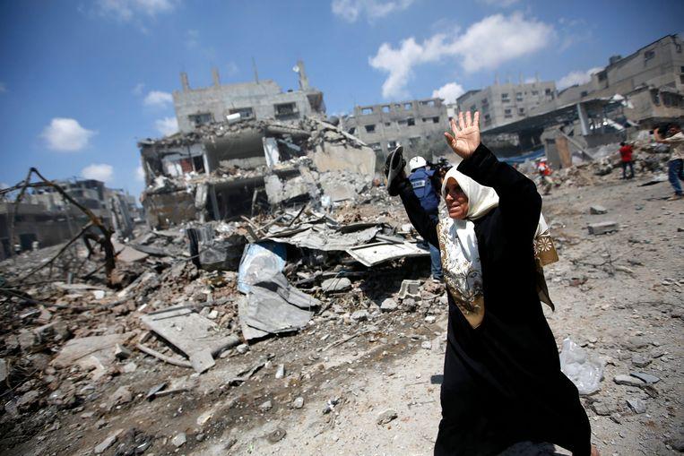 Een Palestijnse vrouw in Gaza, tijdens de oorlog in 2014. Dat conflict kostte aan Israëlische kant naar verluidt 73 levens en aan Palestijnse kant ruim 2000. Beeld EPA