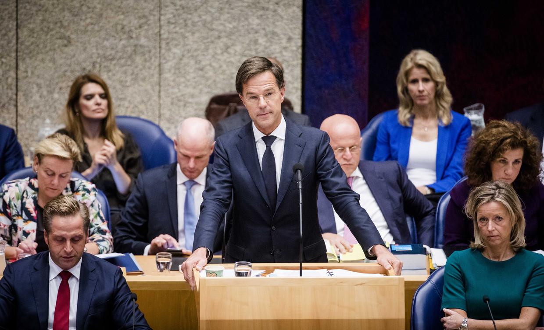 Premier Mark Rutte en het kabinet in de Tweede Kamer.