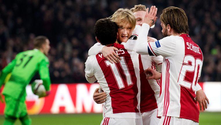 Kasper Dolberg van Ajax heeft de 2-0 gescoord tegen FC Kopenhagen in de Europa League. Beeld anp
