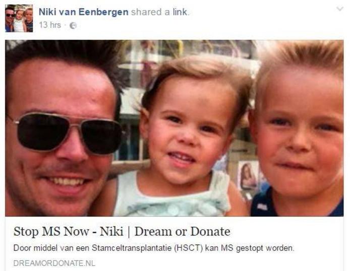 De facebookpagina van Niki van Eenbergen.