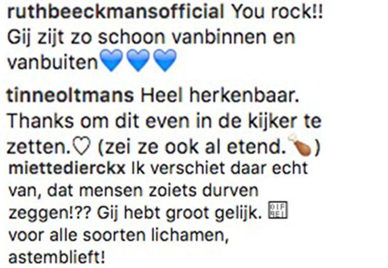 Reacties van Ruth Beeckmans, Tinne Oltmans en Miette Dierckx