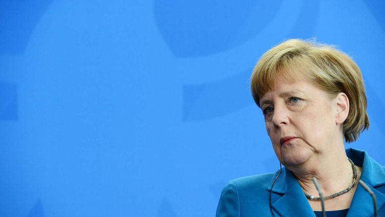 Merkel vandaag op een persconferentie. Beeld afp