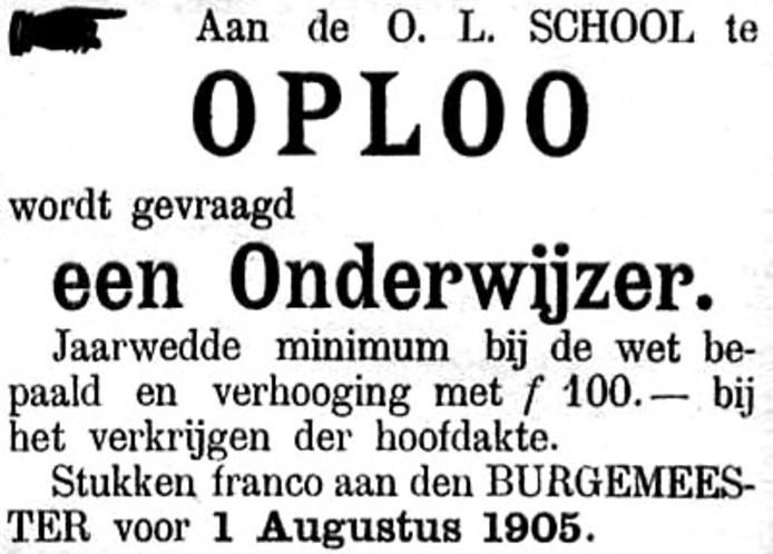 100 jaar onderwijs in Oploo. expositie