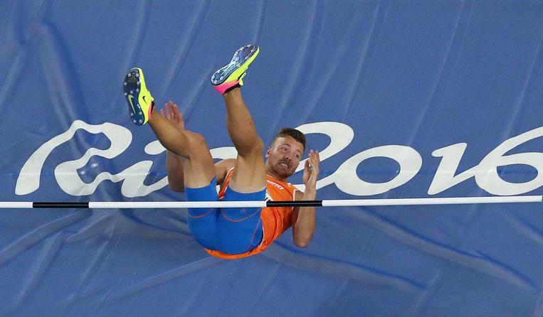Pieter Braun tijdens het hoogspringen. Beeld photo_news