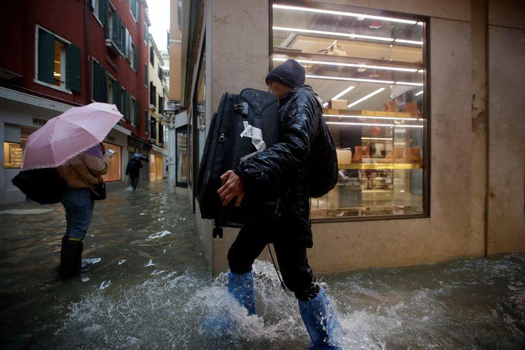 De situatie in Venetië in november. Water, water en nog eens water.