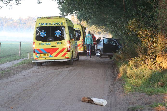 De auto kwam tot stilstand tegen een boom aan de Vijfsprongweg in Lunteren.