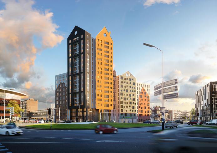 De nieuwste versie van het ontwerp van De Bakermat, het woongebouw dat moet verrijzen aan het Marconiplein (Boschdijk-Marconilaan) in Eindhoven. De bouw start na de vakantie van 2019.
