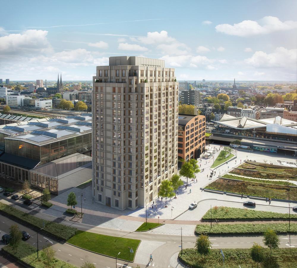 Woongebouw de Brabander, rechts daarvan Plan-T, en links tegen de LocHal het Traversegebouw waarvoor nog een plan in de maak is.