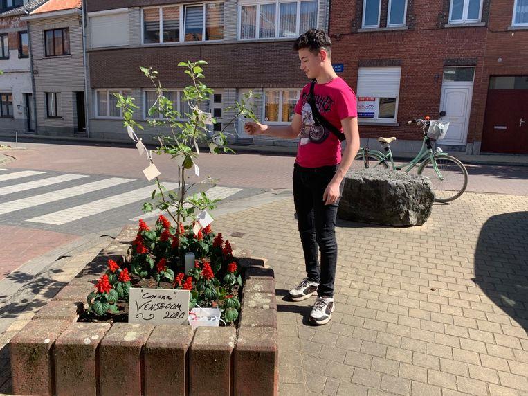 Buurtbewoners planten wensboom. Sami bij de wensboom