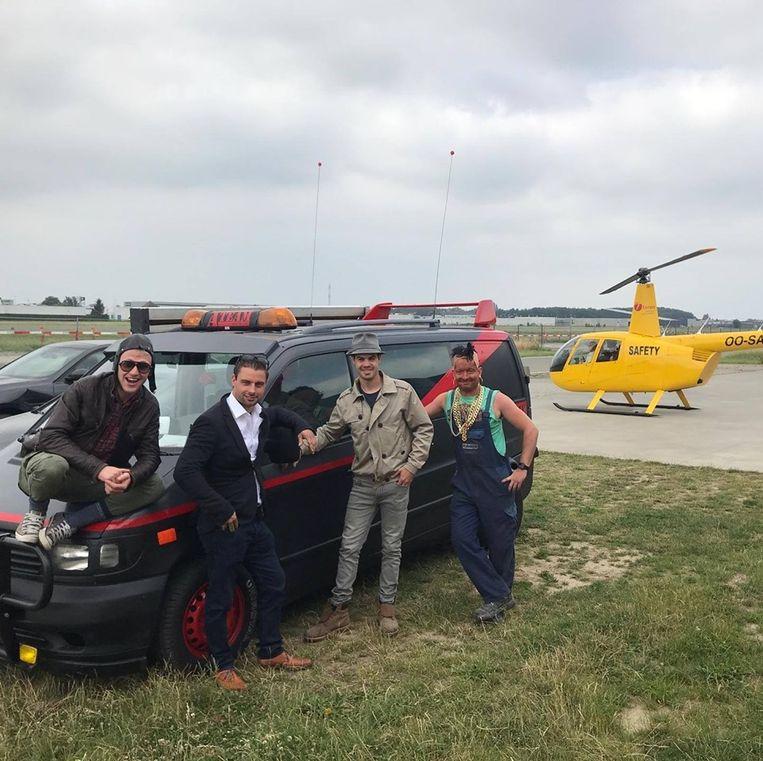 Jens, Thomas, Bert en Dries zijn klaar om als The A-team naar Boedapest te rijden