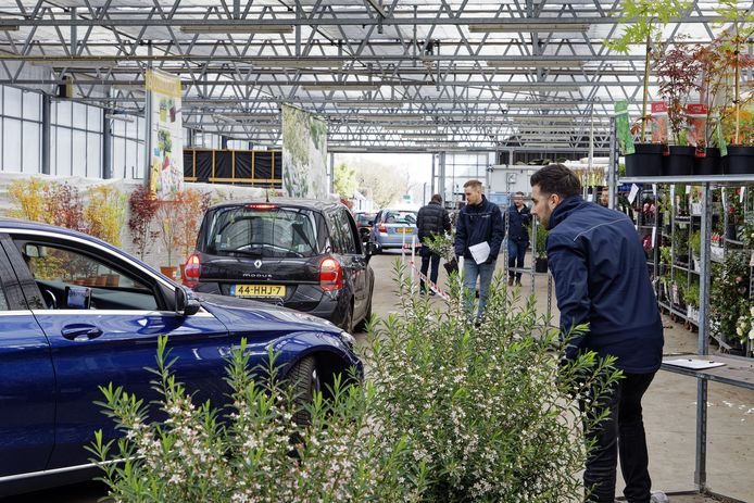 De tijdelijke plant-drive-in bij kwekerij Van Son & Koot in Kaatsheuvel.