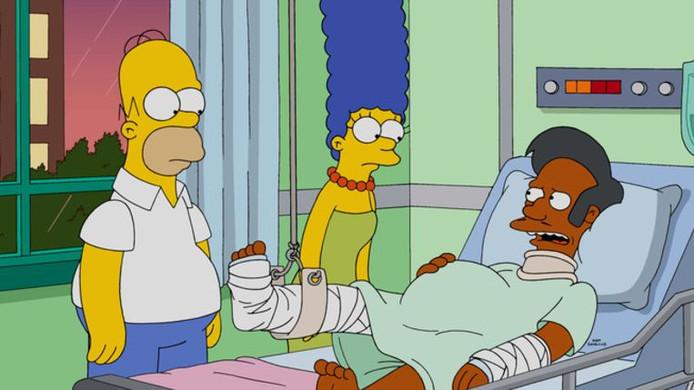 Apu Nahasapeemapetilon krijgt bezoek van Homer en Marge
