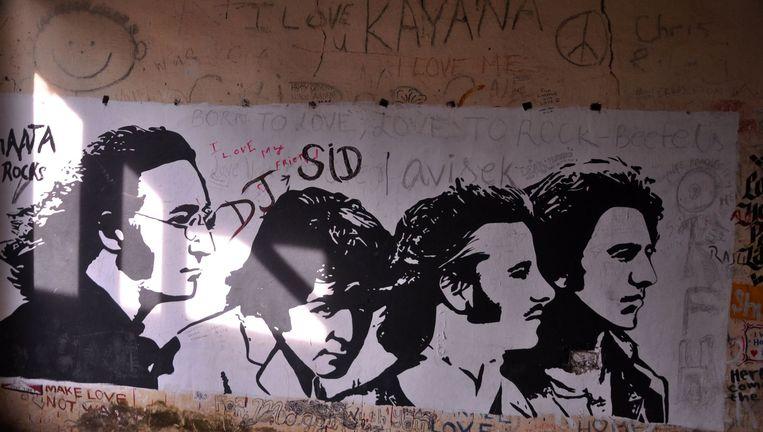 Graffiti op de muren van de ashram in Rishikesh Beeld afp