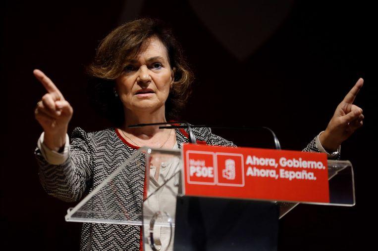 De Spaanse vicepremier Carmen Calvo.