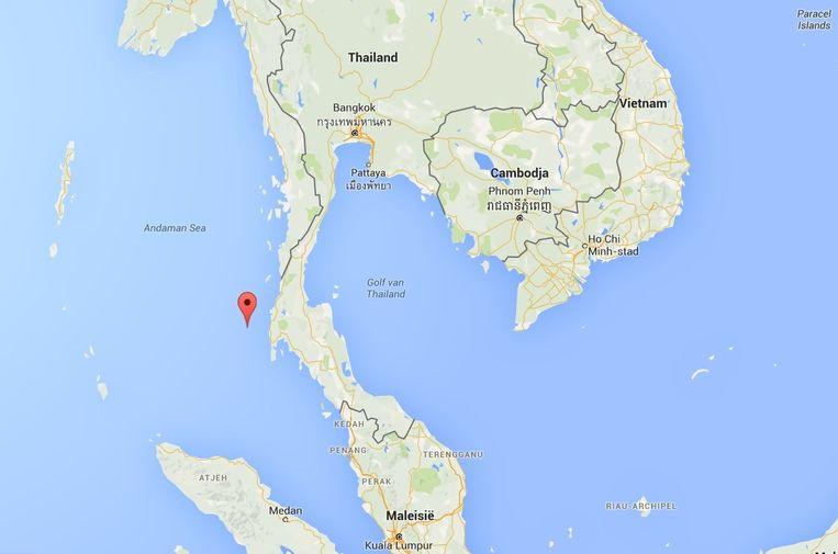 Locatie van het Thaise Nationale Park de Similan-eilanden in de Andamanse Zee. Beeld Google Maps