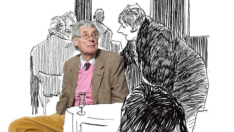 Peter van Straaten in één van zijn eigen illustraties die hij maakte voor een interview met Volkskrant Magazine. Dit is niet de prijswinnende tekening, die staat elders in dit artikel. Beeld null