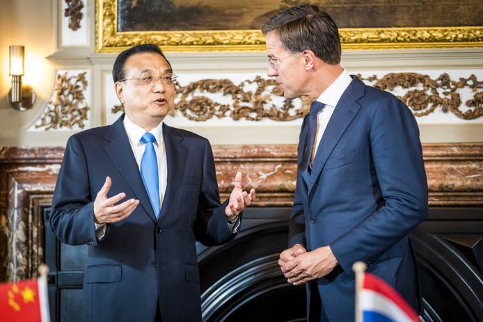 Premier Mark Rutte ontving de Chinese premier Li Keqiang vorige maand nog in Den Haag