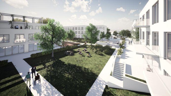 Zicht op de kloostertuin van de nieuwe buurt in het centrum van Mierlo-Hout.