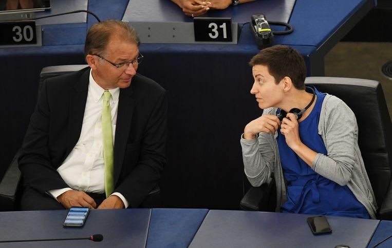 Philippe Lamberts met Ska Keller in het Europese parlement.