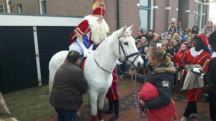 De goedheiligman kon niet wachten om met Amerigo alle kinderen in Zaltbommel gedag te zeggen.