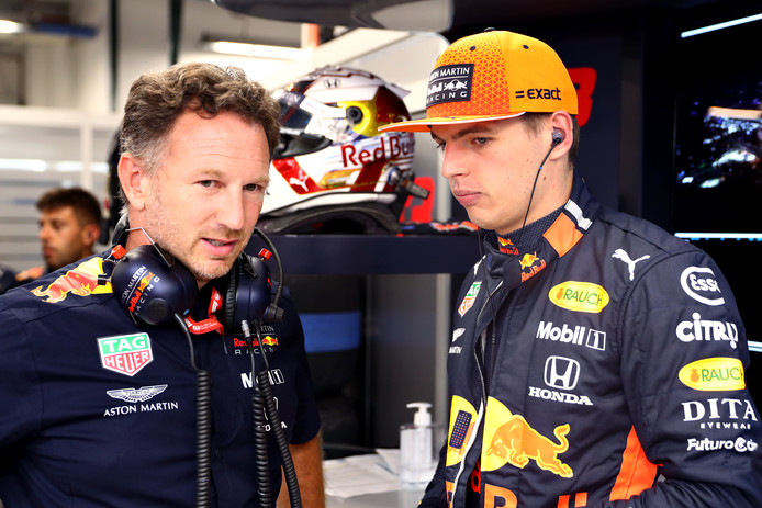 Max Verstappen met teambaas Christian Horner
