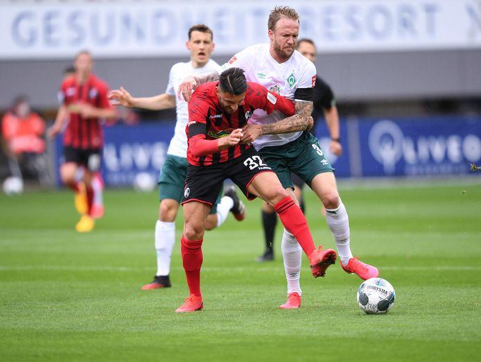 Een duel bij SC Freiburg - Werder Bremen.
