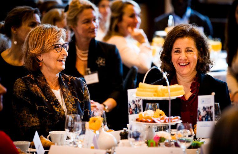 Minister Ingrid van Engelshoven (emancipatie) op Internationale Vrouwendag bij een ontbijt met topmanagers. Beeld ANP