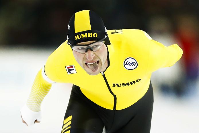 Sven Kramer in actie op de 5000 meter tijdens het NK Afstanden in Thialf.