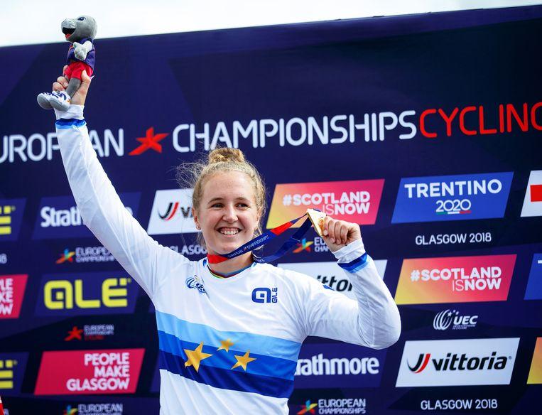 Laura Smulders heeft goud gewonnen bij de Europese kampioenschappen BMX in Glasgow, 2018.  Beeld EPA