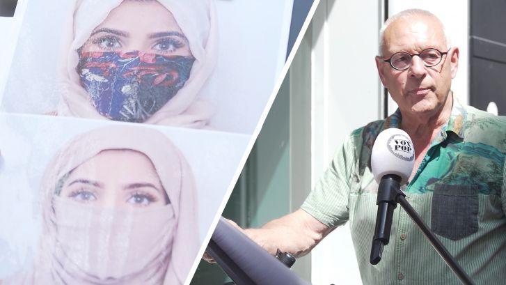 'Wél met mondkap en hoofddoek in de trein. Niet met nikab?'