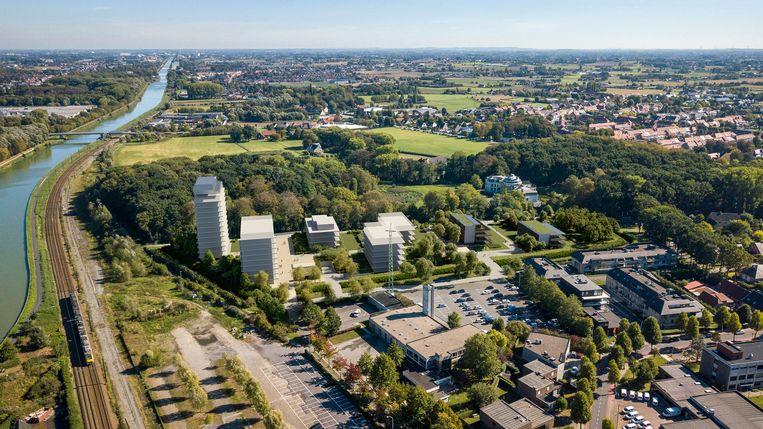 De site Blauwpoorte moet een groene verbinding tussen het centrum en het kasteelpark Blauwhuis vormen.