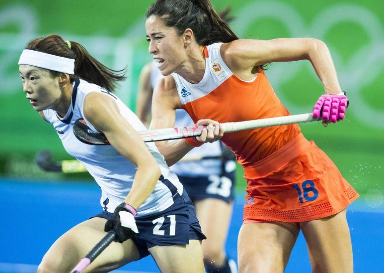 De poulewedstrijd tussen Nederland en Zuid-Korea, tijdens de Olympische Spelen van 2016. Beeld anp