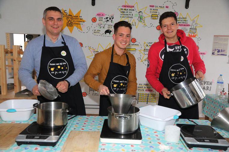 Nieuwe eigenaars Kris D'Huysser, Warren Houtaeve en Marlon Porreye.