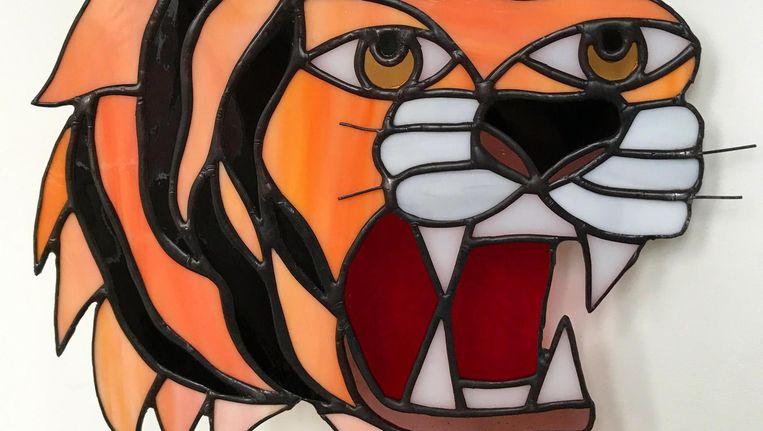 De tijgerkop die autodidact Robin Kapitein voor een vriend maakte. Beeld Robin Kapitein