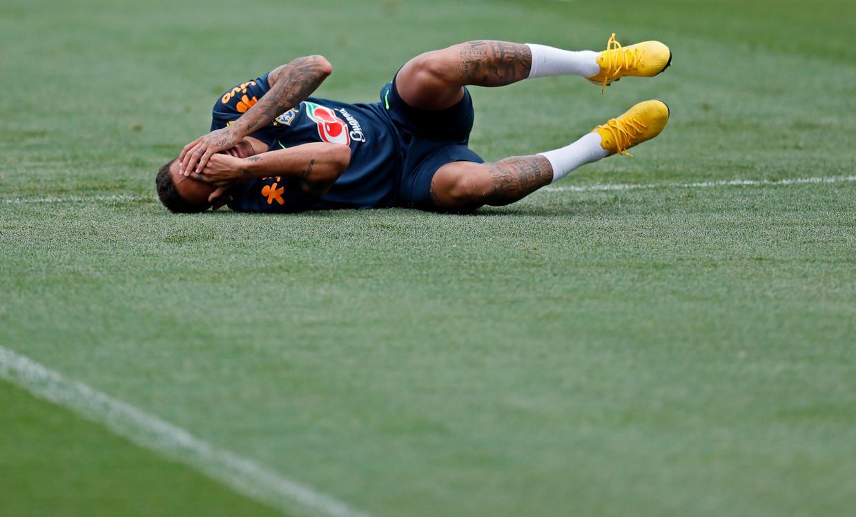 Neymar traint voor de kwartfinale.