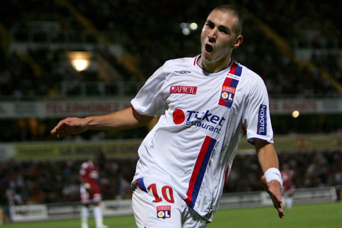Karim Benzema in het shirt van Olympique Lyon in 2007.