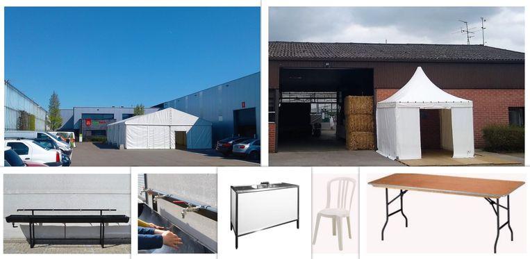 Enkele materialen die Martens Evenementen Service ter beschikking kan stellen.