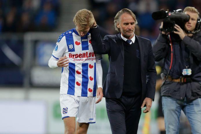 Michel Vlap van sc Heerenveen met coach Jan Olde Riekerink.