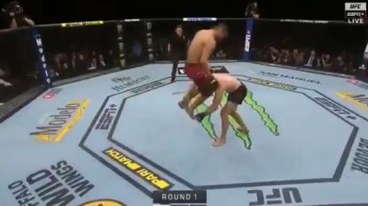 """VIDEO. Snelste knock-out ooit in UFC na opzienbarende move: """"Hij verdiende nog een paar meppen"""""""