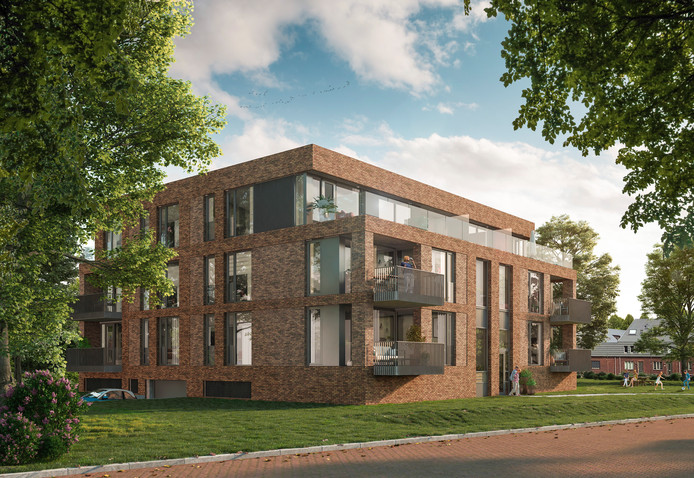 Artist impression van nieuwe appartementcomplex aan de Oosterhoutseweg in Breda