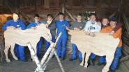 Leerlingen maken houten silhouetten van dieren voor kerststal