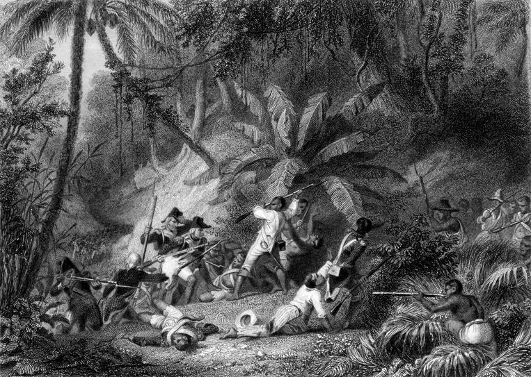 Gravure van de Haïtiaanse Revolutie (1791-1804): opstand tegen de Franse heersers. Beeld Getty
