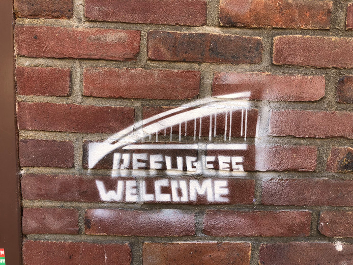Graffiti met Refugees Welcome in Nijmegen