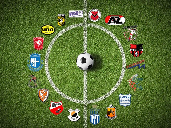 De achttien clubs in de Tweede Divisie 2016/17.