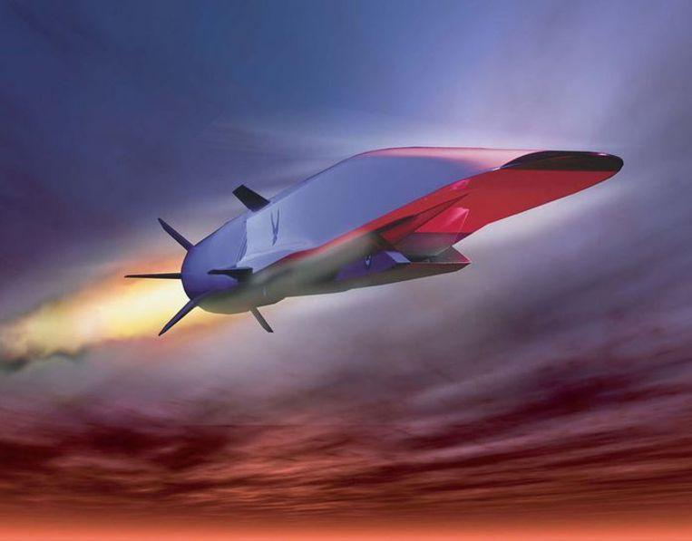 De X-51 WaveRider wordt uit een conventionele bommenwerper gedropt en haalt ruim vijf keer de geluidssnelheid. Impressie van het toestel.