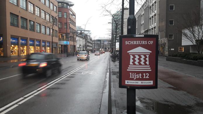 Posters van Forum040 op de Vestdijk in Eindhoven.