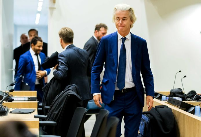 PVV-leider Geert Wilders in de rechtbank van Schiphol voor het pleidooi in het minder-Marokkanen-proces tegen Wilders.