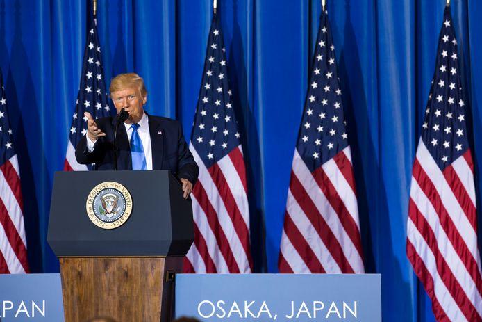 De Amerikaanse president Trump tijdens een persconferentie in het Japanse Osaka waar de G-20 plaatsvindt.